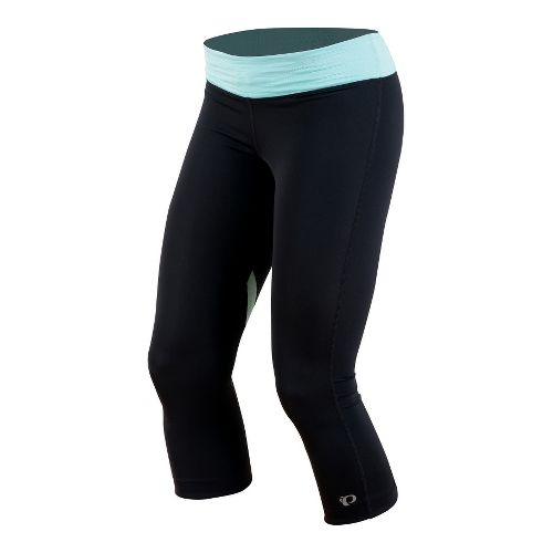 Womens Pearl Izumi Fly 3/4 Capri Tights - Black/Aruba Blue XL