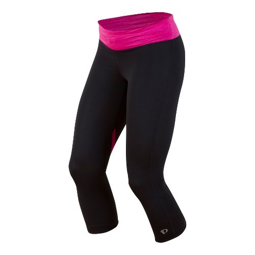 Womens Pearl Izumi Fly 3/4 Capri Tights - Black/Raspberry Rose L