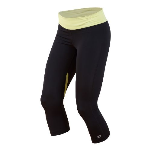 Womens Pearl Izumi Fly 3/4 Capri Tights - Black/Sunny Lime XS