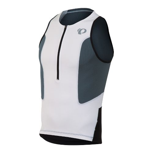 Mens Pearl Izumi SELECT Tri Singlets Technical Tops - White/Stormy XL