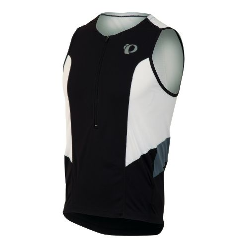 Mens Pearl Izumi SELECT Tri Relaxed Jersey Sleeveless Technical Tops - Black/White L