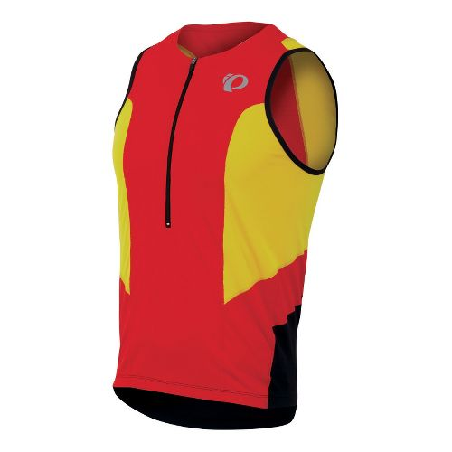 Mens Pearl Izumi SELECT Tri Relaxed Jersey Sleeveless Technical Tops - Fiery Red/Blazing Orange ...