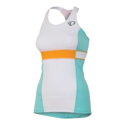 Womens Pearl Izumi SELECT Tri Support Singlets Technical Tops - White/Aruba Blue L