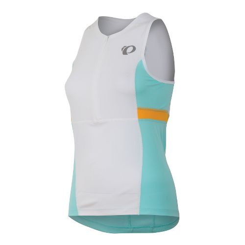 Womens Pearl Izumi SELECT Tri Relaxed Jersey Sleeveless Technical Tops - White/Aruba Blue XXL