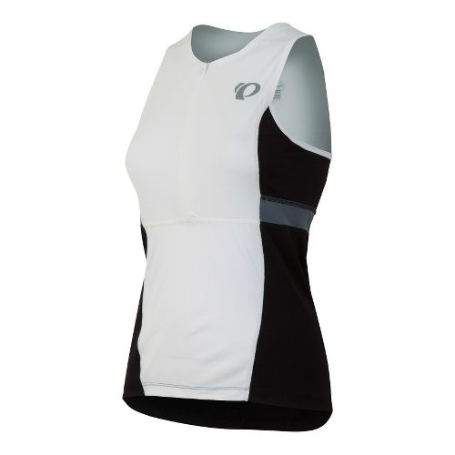 Womens Pearl Izumi SELECT Tri Relaxed Jersey Sleeveless Technical Tops - White/Black XS