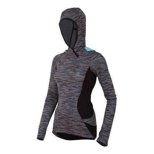 Womens Pearl Izumi Flash Hoody Running Jackets - Black/Aruba Blue M