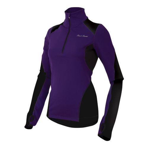Womens Pearl Izumi Fly Thermal Run Long Sleeve 1/2 Zip Technical Tops - Blackberry M ...