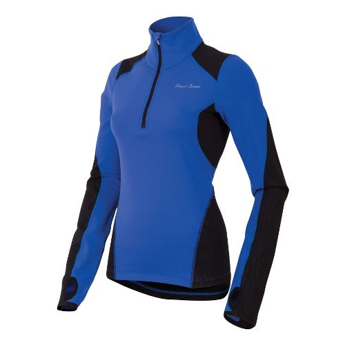 Womens Pearl Izumi Fly Thermal Run Long Sleeve 1/2 Zip Technical Tops - Dazzling Blue ...