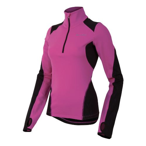 Womens Pearl Izumi Fly Thermal Run Long Sleeve 1/2 Zip Technical Tops - Raspberry Rose ...