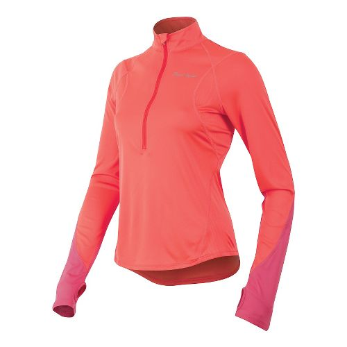 Womens Pearl Izumi Fly Long Sleeve No Zip Technical Tops - Living Coral XL