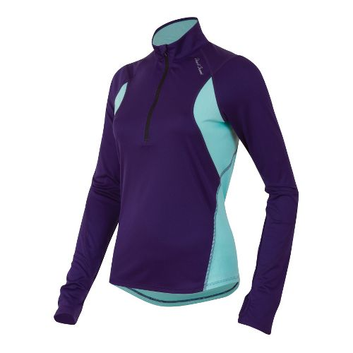 Womens Pearl Izumi Fly Long Sleeve No Zip Technical Tops - Blackberry/Aruba Blue M