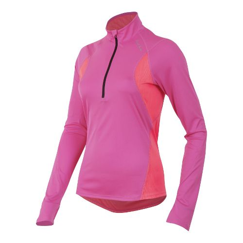 Womens Pearl Izumi Fly Long Sleeve No Zip Technical Tops - Raspberry Rose/Sunkist Coral M ...