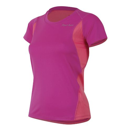 Womens Pearl Izumi Fly Short Sleeve Technical Tops - Raspberry Rose/Sunkist Coral L