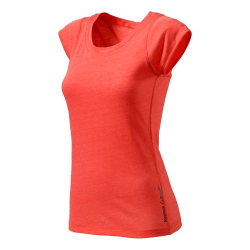 Womens Reebok CrossFit Tri Blend Performance Tech Tee Short Sleeve Technical Tops - Coral L ...