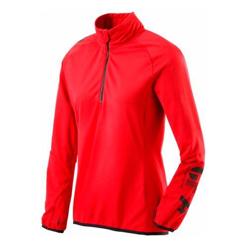 Womens Reebok CrossFit 1/4 Zip Fleece Long Sleeve 1/2 Zip Technical Tops - Cherry S ...