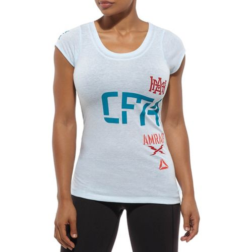 Womens Reebok CrossFit SS Tri Blend CF74 Tee Long Sleeve No Zip Technical Tops - ...