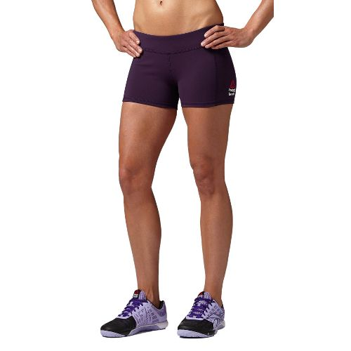 Womens Reebok CrossFit Chase Bootie Fitted Shorts - Dark Purple S