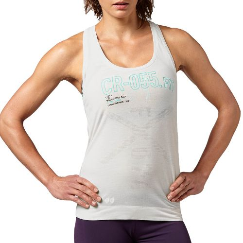 Womens Reebok CrossFit Performance Tank Technical Tops - Chalk M