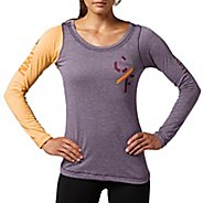 Womens Reebok CrossFit Tri-Blend Graphic Long Sleeve No Zip Technical Tops