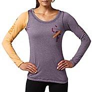 Womens Reebok CrossFit Tri-Blend Graphic Long Sleeve No Zip Technical Tops