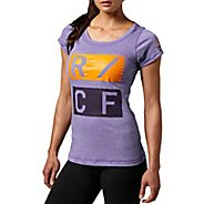 Womens Reebok CrossFit Tri-Blend Graphic Short Sleeve Technical Tops