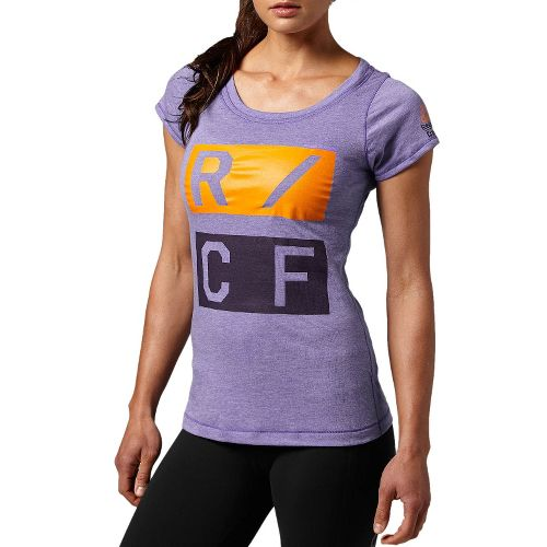 Womens Reebok CrossFit Tri-Blend Graphic Short Sleeve Technical Tops - Purple L