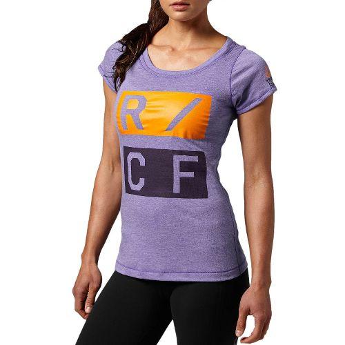 Womens Reebok CrossFit Tri-Blend Graphic Short Sleeve Technical Tops - Purple L