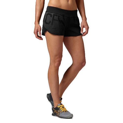 Womens Reebok CrossFit Knit Woven Boardshort Lined Shorts - Black S