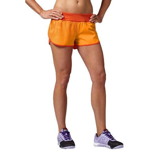Womens Reebok CrossFit Knit Woven Boardshort Lined Shorts - Orange L