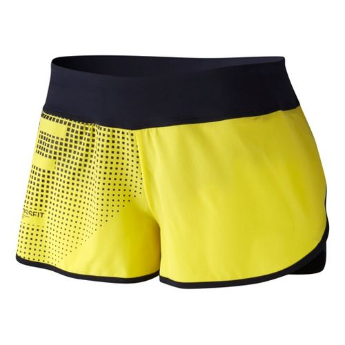Womens Reebok CrossFit Games Knit Woven Lined Shorts - Yellow/Black L