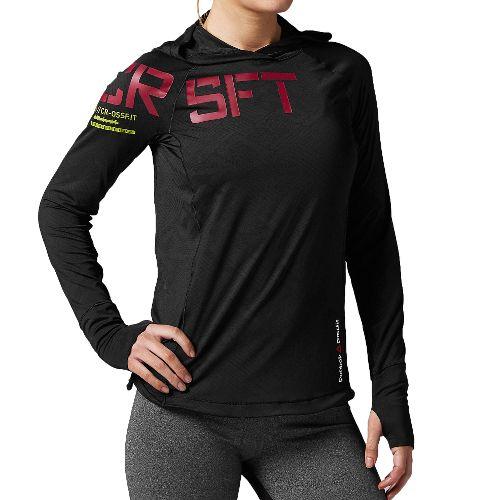 Womens Reebok CrossFit Performance Jacquard Hoodie Long Sleeve No Zip Technical Tops - ...