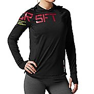 Womens Reebok CrossFit Performance Jacquard Hoodie Long Sleeve No Zip Technical Tops