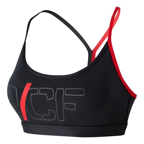Womens Reebok CrossFit Graphic Skinny Strap Sports Bra - Black/Smooth L