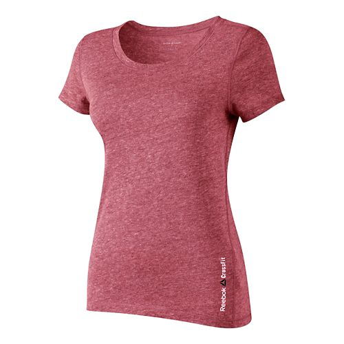 Womens Reebok CrossFit Tri-Blend Solid Short Sleeve Technical Tops - Red S