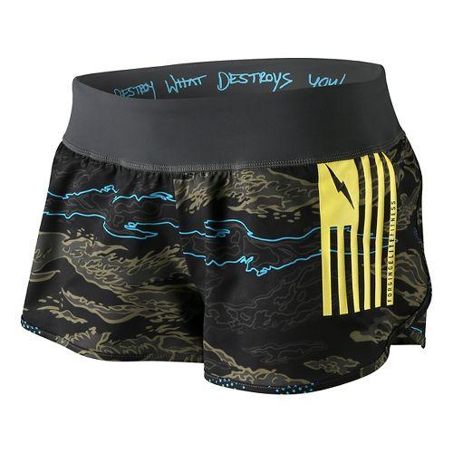 Womens Reebok CrossFit Foil Print Knit Woven Board Lined Shorts - Dark Green/Multi S