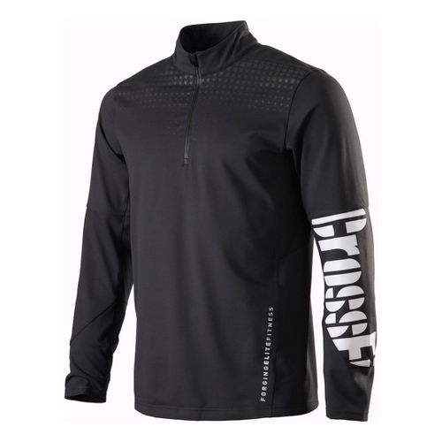 Mens Reebok CrossFit Performance 1/4 Zip Fleece Long Sleeve 1/2 Zip Technical Tops - Black ...