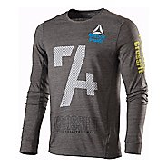 Mens Reebok CrossFit Multi Logo Tri Blend Tee Long Sleeve No Zip Technical Tops