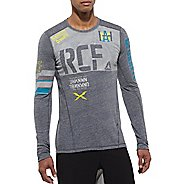 Mens Reebok CrossFit Tri Blend RCF Graphic Long Sleeve No Zip Technical Tops