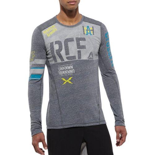 Mens Reebok CrossFit Tri Blend RCF Graphic Long Sleeve No Zip Technical Tops - Navy ...