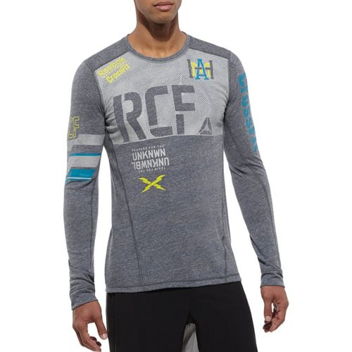 Mens Reebok CrossFit Tri Blend RCF Graphic Long Sleeve No Zip Technical Tops - Navy ...
