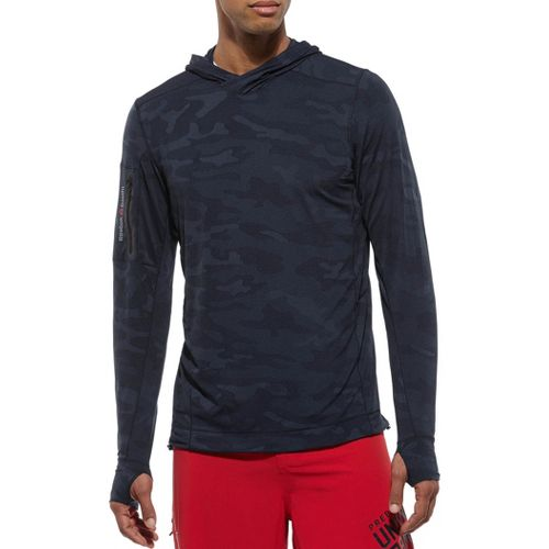 Mens Reebok CrossFit Endurance Training Jacquard Hoody Long Sleeve No Zip Technical Tops - Navy ...