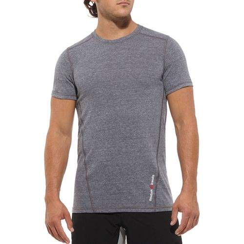 Mens Reebok CrossFit Tri Blend Solid Tee Short Sleeve Technical Tops - Navy L