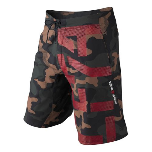 Mens Reebok CrossFit Camo Intensify Unlined Shorts - Camo Green M
