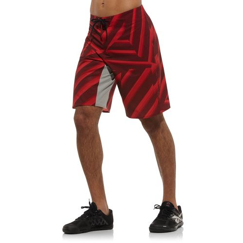 Mens Reebok CrossFit Printed Board Unlined Shorts - Red XL