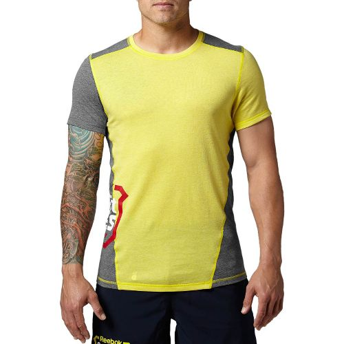 Mens Reebok CrossFit Games Tri-Blend Tee Short Sleeve Technical Tops - Yellow XL