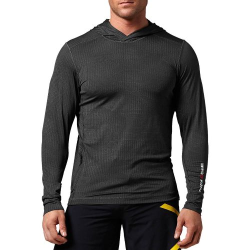 Mens Reebok CrossFit Performance Hoody Long Sleeve No Zip Technical Tops - Gravel L