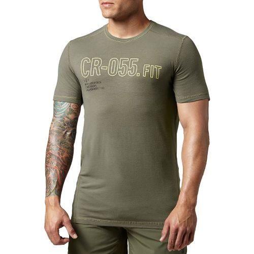 Mens Reebok CrossFit Burnout Graphic Short Sleeve Technical Tops - Olive L