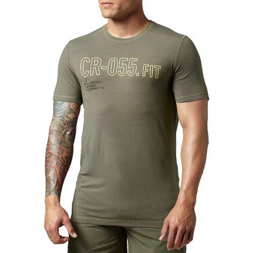 Mens Reebok CrossFit Burnout Graphic Short Sleeve Technical Tops - Olive L