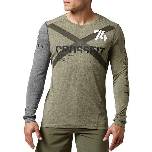 Mens Reebok CrossFit Tri-Blend Graphic Long Sleeve No Zip Technical Tops - Olive XXL