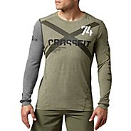 Mens Reebok CrossFit Tri-Blend Graphic Long Sleeve No Zip Technical Tops